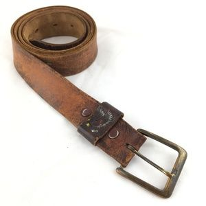 Other - Brown leather belt distressed eagle embossed 44